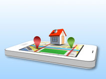 Smartphone showing map application with 3d markers Stock Photo