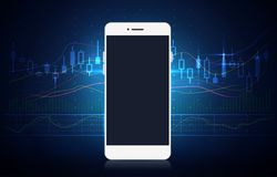 Smartphone showing stock chart on screen with blue theme. Smart phone screen showing stock chart with blue theme background. Illustration about finance and Royalty Free Stock Image