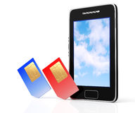 Smartphone and SIM card Stock Photo