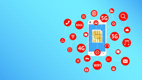 Smartphone and sim card with apps icon floating Royalty Free Stock Photo