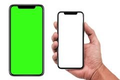 Smartphone similar to iphone xs max with blank white screen for Infographic Global Business Marketing Plan , mockup model similar. To iPhonex isolated stock image