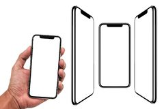 Smartphone similar to iphone xs max with blank white screen for Infographic Global Business Marketing Plan , mockup model similar. To iPhonex isolated stock photography