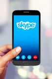 Smartphone with skype Stock Photography