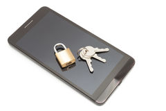 Smartphone with small lock and keys over it. Mobile phone security and data protection concept Royalty Free Stock Image