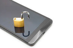 Smartphone with small lock in unlocked position over it - data protection concept. Smartphone with lock in unlocked position over it - data protection concept Stock Image