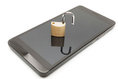 Smartphone with small lock in unlocked position over it. Mobile phone security and data protection concept. Smartphone with lock in unlocked position over it Stock Images