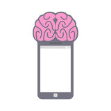Smartphone. Smart phone with brain. Fantastic Concept technology Stock Images
