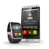 Smartphone and smart watch. Creative mobile connectivity and business mobility communication concept: incoming call on smart watch or clock via wireless Stock Photo
