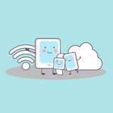 Smartphone, smartwatch, comprimé, calcul de nuage Photos stock