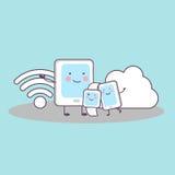 Smartphone, smartwatch, Tablette, Wolkendatenverarbeitung Stockfotos