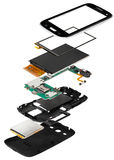 smartphone smontato isometry Fotografie Stock Libere da Diritti