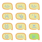 Smartphone sms emoticons. Vector - set of 12 comic yellow icons Royalty Free Stock Photos
