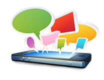 Smartphone with social media chat bubbles or speech bubbles. Extruding from the screen on a white background Royalty Free Stock Image