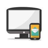 Smartphone and social media design. Smartphone computer and envelope icon. Social media marketing communication theme. Colorful design. Vector illustration stock illustration