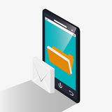 Smartphone and social media design. Smartphone file and envelope icon. Social media marketing and communication theme. Colorful design. Vector illustration Stock Photos