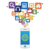 Smartphone with social media icons Stock Images