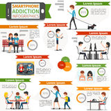 Smartphone, social media and internet addiction. Infographic. Online people, technology communication, vector illustration royalty free illustration