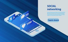 Smartphone social media network concept, comments, like icons royalty free illustration