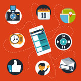 Smartphone with social, web and media icons Royalty Free Stock Image