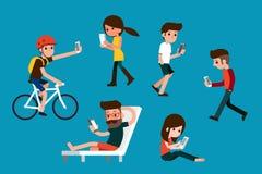 Smartphone society. Smartphone society flat design cartoon Royalty Free Stock Photography