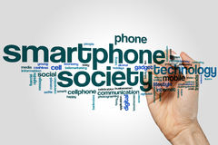 Smartphone society word cloud. Concept on grey background Stock Photo