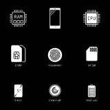 Smartphone specification flat line icons. Gadget description. Icon set vector Stock Photos