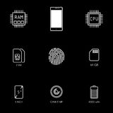 Smartphone specification flat line icons. Gadget description. Icon set vector Royalty Free Stock Images