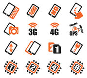 Smartphone,  specifications and functions. Mobile or cell phone, smartphone,  specifications and functions icons set Stock Photos