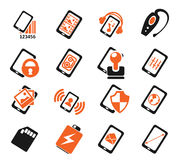 Smartphone,  specifications and functions. Mobile or cell phone, smartphone,  specifications and functions icons set Royalty Free Stock Photography