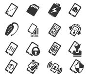 Smartphone,  specifications and functions. Mobile or cell phone, smartphone,  specifications and functions icons set Stock Image