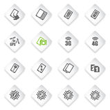Smartphone,  specifications and functions. Mobile or cell phone, smartphone,  specifications and functions icons set Royalty Free Stock Images