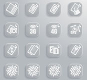 Smartphone,  specifications and functions. Mobile or cell phone, smartphone,  specifications and functions icons set Royalty Free Stock Image