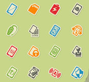 Smartphone, specifications and functions. Mobile or cell phone, smartphone, specifications and functions icons set Royalty Free Stock Photos