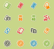 Smartphone, specifications and functions. Mobile or cell phone, smartphone, specifications and functions icons set stock illustration