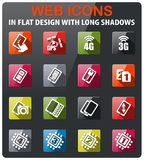 Smartphone, specifications and functions. Smartphone, specificationicons set in flat design with long shadows Stock Photo