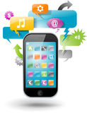 Smartphone with speech bubbles Royalty Free Stock Photography