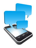 Smartphone with speech bubbles hovering. 3d smartphone with blue speech bubbles hovering Royalty Free Stock Photography