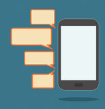 Smartphone with speech bubbles Royalty Free Stock Images