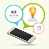 Smartphone with speech Royalty Free Stock Images