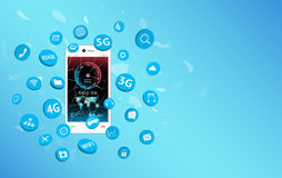 Smartphone with speed test screen and apps icon floating Royalty Free Stock Image
