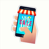 Smartphone with Spring SALE text Stock Photography