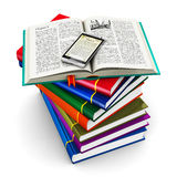Smartphone and stack of color books Royalty Free Stock Photo