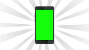 Smartphone static template on white burst background.