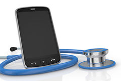 Smartphone and stethoscope Stock Photography