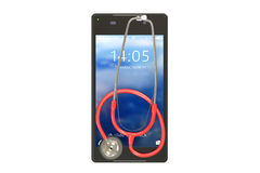 Smartphone with stethoscope Royalty Free Stock Photo