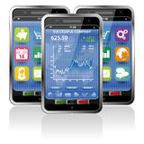Smartphone with Stock Market Application. Collect Smartphones with Stock Market Application and various Icons Royalty Free Stock Photography