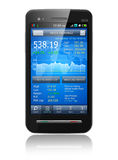 Smartphone with stock market application. Tax, accounting and making money concept: black glossy business touchscreen smartphone with stock exchange market Stock Image