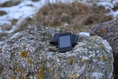 Smartphone On Stone Stock Photography