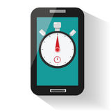 Smartphone stopwatch timer. Stopwatch and time illustration concept Royalty Free Stock Photos