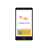 Smartphone with store app, elegant design. Clean and modern style. Stock Image